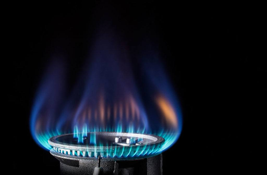 Flame of a gas burner on a black background