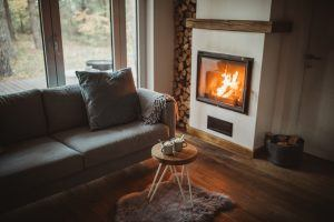 How to minimise the risk of fire | inside of a living room with open fire